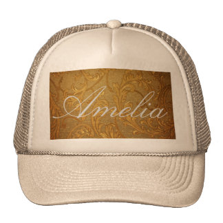 Antique,gold,vintage,damask,victorian,floral Mesh Hat