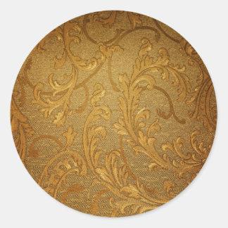 Antique,gold,vintage,damask,victorian,floral Round Stickers