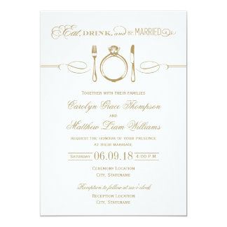 Antique Gold Wedding | Eat Drink and Be Married 5x7 Paper Invitation Card
