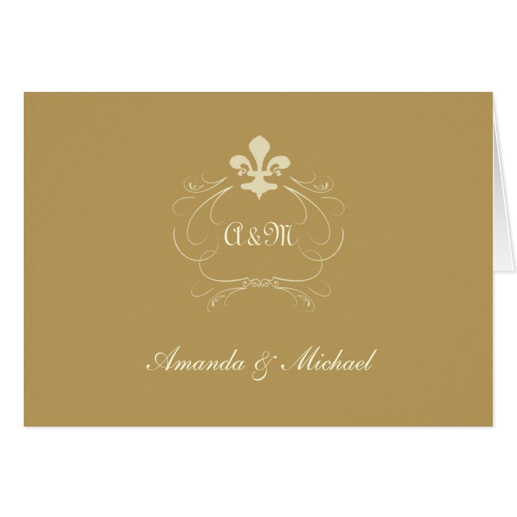 Antique Gold Wedding Fleur de Lis Thank You Card