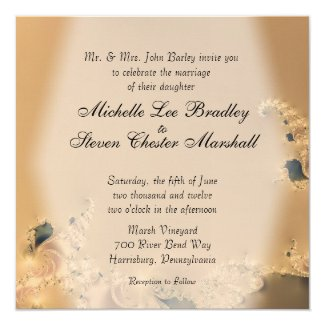 Antique Gold Wedding Invitations
