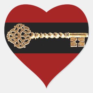 Antique Golden Gold Steampunk Skeleton Key Heart Sticker