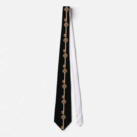 Antique Golden Gold Steampunk Skeleton Key Neck Tie