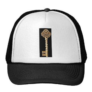 Antique Golden Gold Steampunk Skeleton Key Trucker Hat
