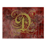 Antique Goth Syle Monogrammed Cards, Letter D Post Cards