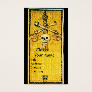 ANTIQUE GOTHIC TAROTS,ACE OF SWORDS Black Yellow Business Card