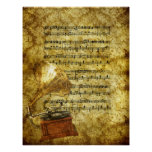Antique Gramophone and Notes Poster