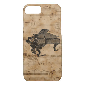 Antique Grand Piano on Vintage Music Sheet Page iPhone 7 Case