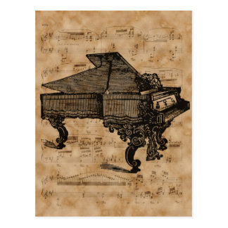 Antique Grand Piano on Vintage Music Sheet Page Postcard