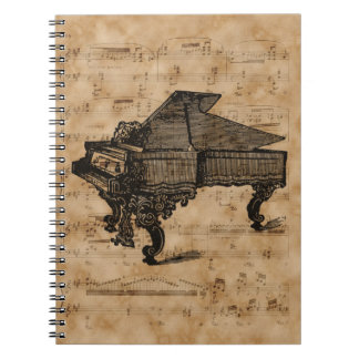 Antique Grand Piano on Vintage Music Sheet Page Spiral Notebook