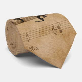 Antique Grand Piano on Vintage Music Sheet Page Tie