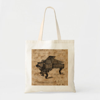 Antique Grand Piano on Vintage Music Sheet Page Tote Bag