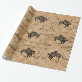 Antique Grand Piano on Vintage Music Sheet Page Wrapping Paper