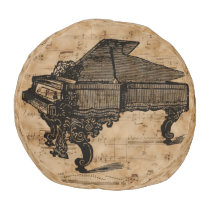Antique Grand Piano on Vintage Music Sheets Pouf