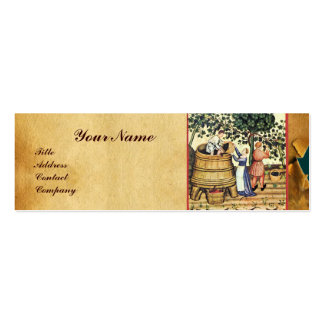 ANTIQUE GRAPE VINEYARD HARVEST WAX SEAL MONOGRAM Double-Sided MINI BUSINESS CARDS (Pack OF 20)