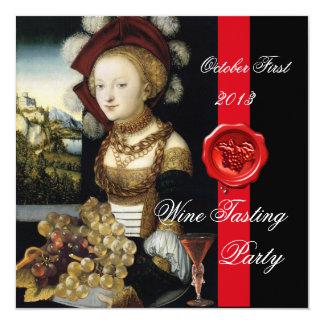 ANTIQUE GRAPE VINEYARD WINE TASTING PARTY WAX SEAL 5.25X5.25 SQUARE PAPER INVITATION CARD