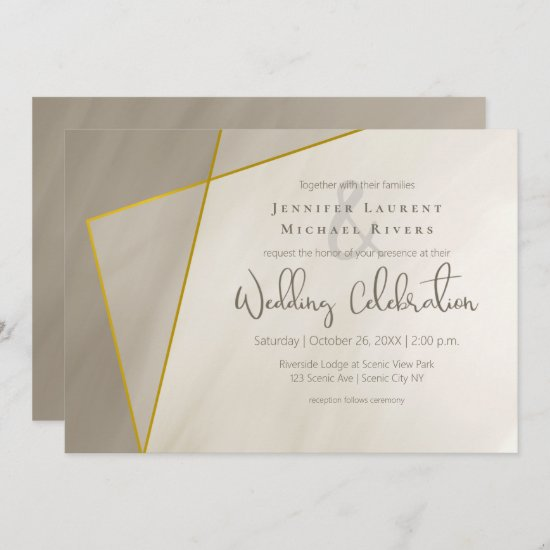antique gray gold frame modern wedding invitation