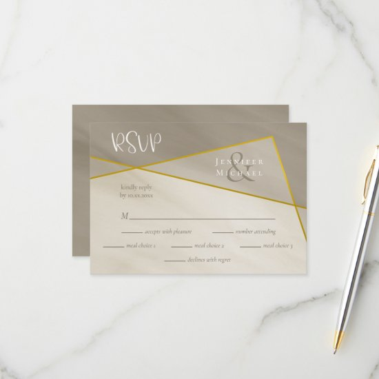 antique gray gold frame wedding rsvp