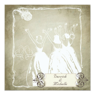 Antique Gray Toss the Bouquet Wedding Invite