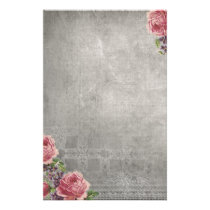 Antique Gray with Pink Roses Stationery