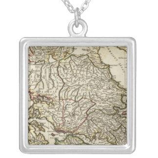 Antique Greek Map Square Pendant Necklace
