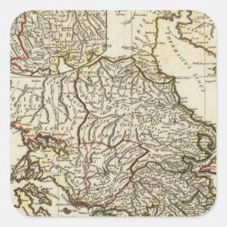 Antique Greek Map Square Sticker