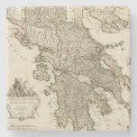Antique Greek Map Stone Beverage Coaster