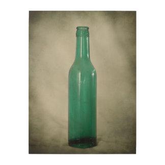 Antique Green Glass Bottle Wood Wall Decor