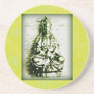 Antique Green Kwan Yin coaster