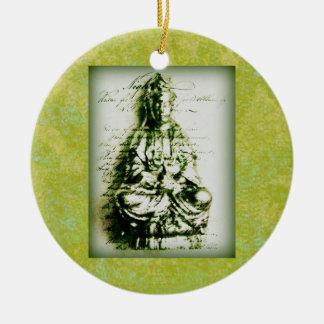 Antique Green Kwan Yin ornament