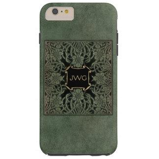 Antique Green Tooled Leather Monogram Book Cover Tough iPhone 6 Plus Case