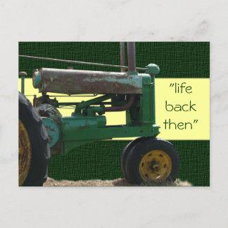 Antique Green Tractor postcard- customize Postcard