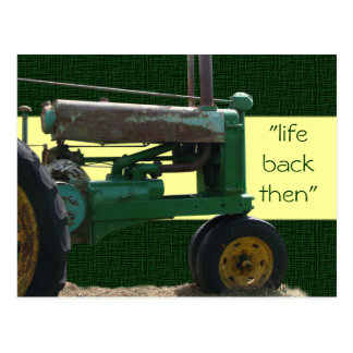 Antique Green Tractor postcard- customize Postcard