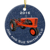 "Antique Green Tractor ""(Your Name)"" & ""20XX"" Ceramic Ornament"