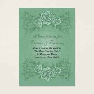 Antique Green Wedding Reception Card