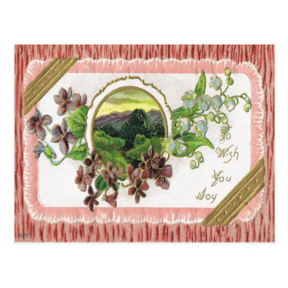 Antique Greeting Post Card-Violets, Lily of Valley Postcard