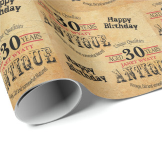 Antique Grunge Birthday | 30th Birthday Wrapping Paper