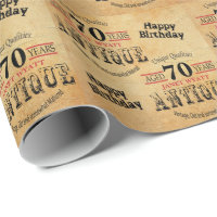 Antique Grunge Birthday | 70th Birthday Wrapping Paper