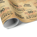 Antique Grunge Birthday | 90th Birthday Wrapping Paper