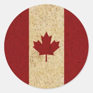 Antique Grunge Canadian Flag Classic Round Sticker