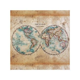 antique,grunge,vintage,world,map,hand colored 1700 canvas print