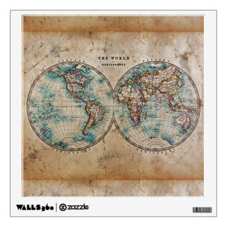 antique,grunge,vintage,world,map,hand colored 1700 wall sticker