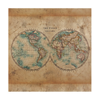 antique,grunge,vintage,world,map,hand colored 1700 wood wall decor