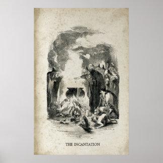 Antique Halloween Witch Cauldron Incantation Poster