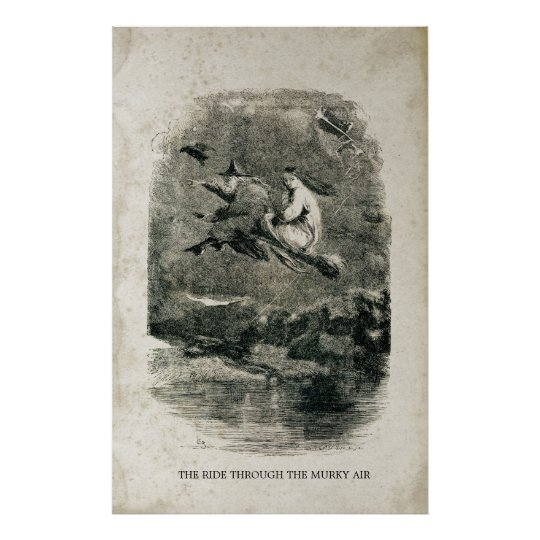 Antique Halloween Witches on Brooms Poster