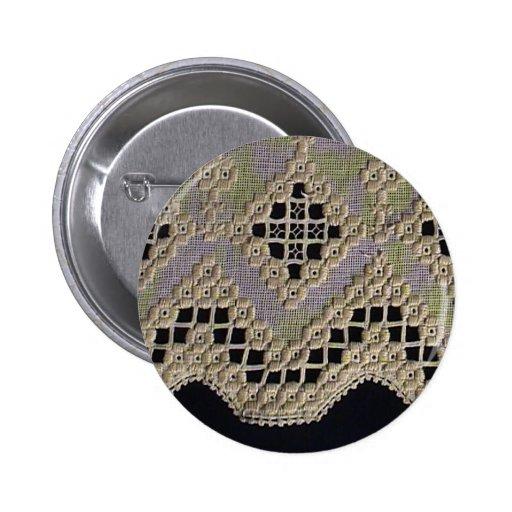 Antique Hardanger Lace 2 Inch Round Button