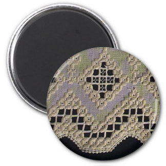 Antique Hardanger Lace 2 Inch Round Magnet