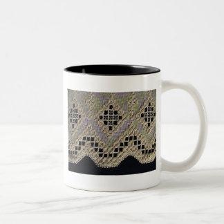 Antique Hardanger Lace Two-Tone Coffee Mug