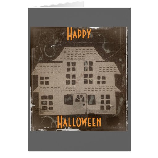 Antique Haunted House Halloween Greeting Card