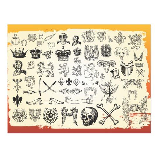 Antique-Heraldic-Graphics digital assortment shape Postcard